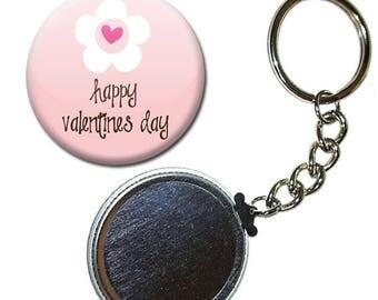 Badge 38 mm - Happy Valentines Day flower Valentine's day Keyring