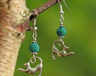 Silver cat earrings, turquoise blue lava bead