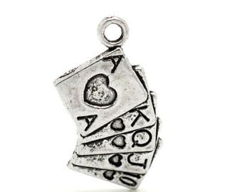 3 charms Poker cards games 25x13mm - Tibetan silver