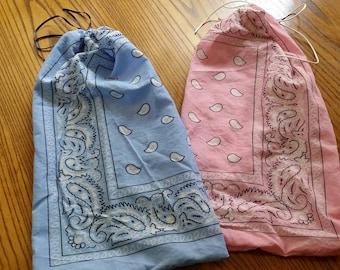 2 large reusable cinch bags