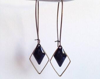 Earrings - diamond - black