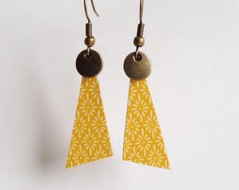 Beautiful earrings with print - silver metal