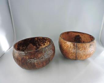 Vintage Coconut Bowls, tiki, set of 2