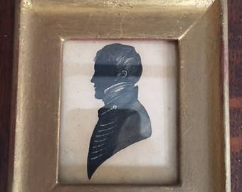 Antique Painted English Silhouette with Gold Frame