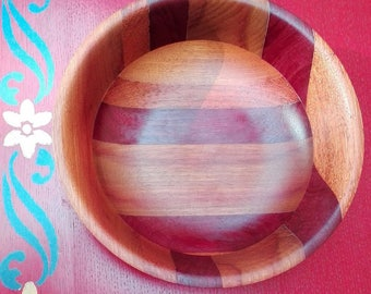 No. 1 turned purpleheart wood and moutouchi Bowl