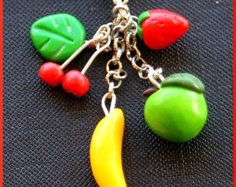 Necklace pendant small Fruits: Strawberry, banana, cherry and Apple green