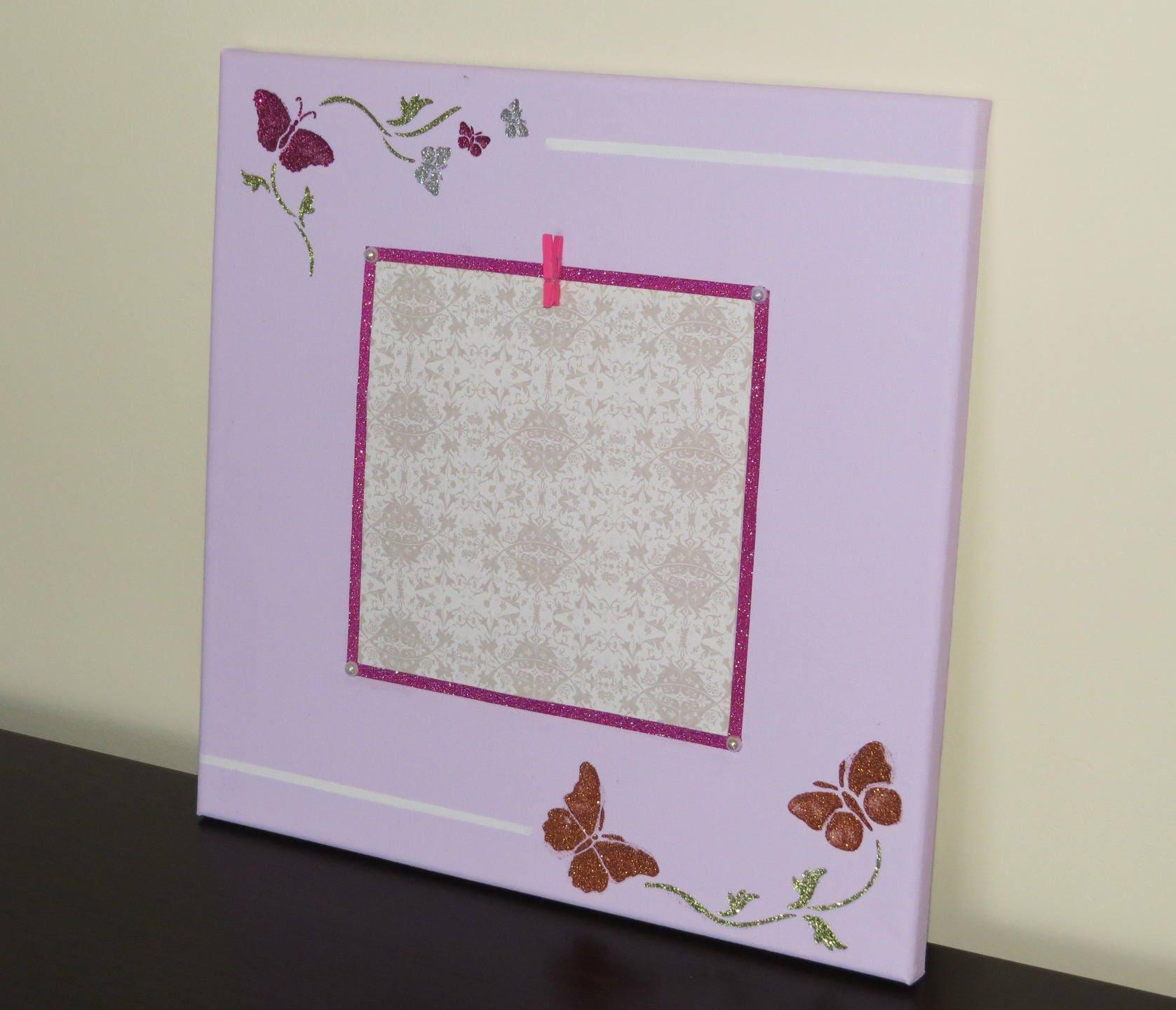 cadre photo avec papillons rose paillettes d coration. Black Bedroom Furniture Sets. Home Design Ideas