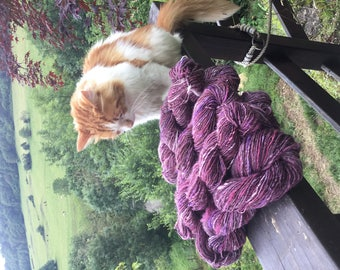 170 g hand dyed and handspun wool.