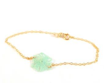 Fine gold 14 K Gold Filled, turquoise bracelet crochet