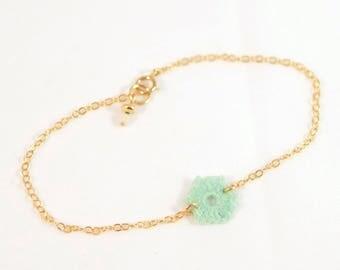 Fine gold 14 K Gold Filled, small turquoise crochet bracelet