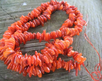 Orange Pearl chips beads