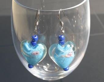 Earrings blue glass heart beads