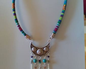 Ethnic half moon Blue style necklace