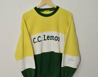 RARE!! C.C. Lemon Big Spell Out Front and Back Sweatshirt Sweater Jumper Pullover