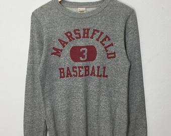 RARE!! Vintage Champion Marshfield Baseball Sweatshirt Pullover Big Spell Out Sweater Jumper Hoodies