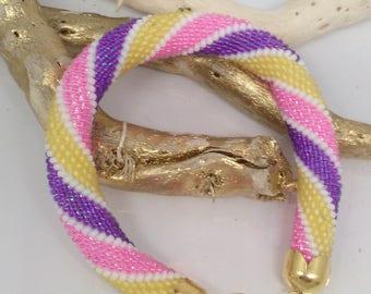 Russian spiral bracelet with glass miyuki Delica bead crochet handmade