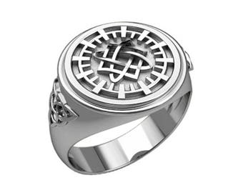 Svarog Square Lada Lado Slavic Symbol Ethnic Men Ring Sterling Silver 925 SKU30386