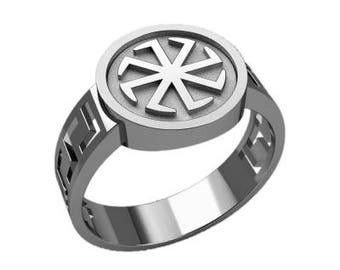 Colovrat Slavic Symbol Men Ring Sterling Solid Silver 925 SKU30348