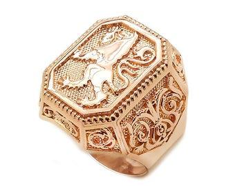 Game of Thrones Royal Heraldry Lion Men Ring Signet 14k Gold 585 SKU km482