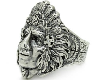 Geronimo Legendary Indian Apache's Hero Men's Ring Sterling Solid Silver 925 SKU4008