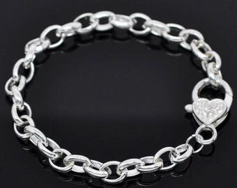 4 matte or shiny silver bracelet with lobster clasp silver color heart 20cm