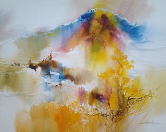 "Landscape watercolor painting ""perched high in the mountains"""