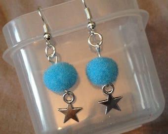 Earrings drop blue Pompom