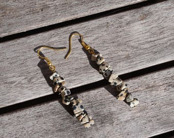 earrings with stones Jasper Dalmatian and golden metal hooks