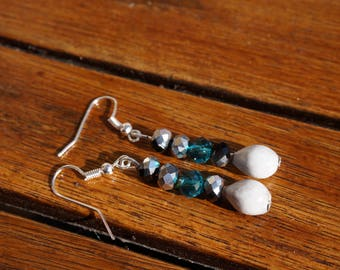 job's tears and faceted glass bead earrings