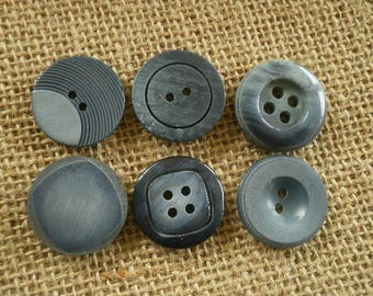 (1) set of 6 different plastic buttons, blue jean