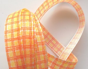 Fancy x 5 m - PLAID yellow and ORANGE number 1443 Ribbon