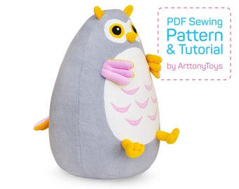 Fatty Owl sewing pattern PDF, soft Owl template for sewing