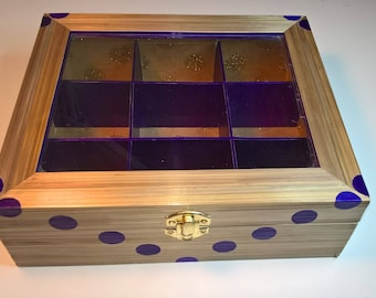 Purple round tea box