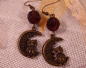 "Earrings ""Hello OWL"" Creat'Y. O.N"