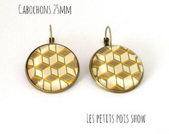 Stud Earrings geometric vintage yellow pastels cream grey color