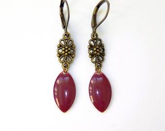 RASPBERRY - Earrings bronzes raspberry pink enamel and sequin flower arabesque
