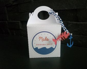 Box dragees or candy marine theme birthday, christening, wedding...