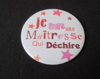 """Miroir de poche """" je suis une maîtresse qui déchire"""" à offrir   idée cadeau maîtresse"""