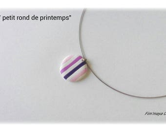 """Necklace """"small circle of spring"""" beautifully striped with pink, purple and white"""
