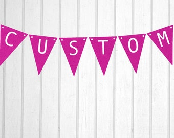 Hot Pink & White Custom Personalised Flag Bunting - Birthday Wedding Engagement Baby Shower Baptism Hens Bucks Farewell Party Banner Sign