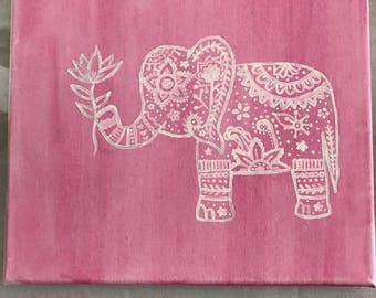 Pink Boho Elephant Painting