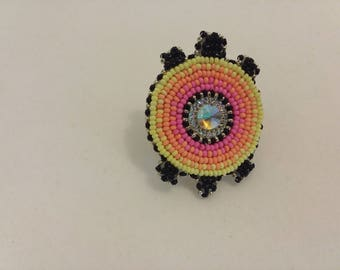 Turtle Ring, Neon native beadwork