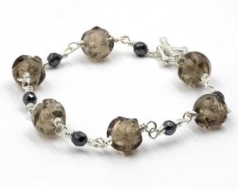 Smoky Quartz Skull Hand-wired Bracelet