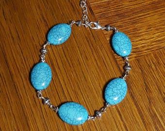 Bracelet turquoise beaded blue turquoise