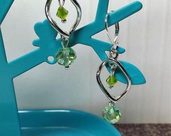 Earrings little spiral clear green Crystal