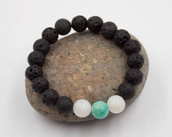 Grounding Lava Rock and Moonstone Bracelet