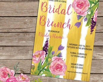 Gold and Peony Bridal Brunch Invitation