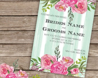 Mint and Floral Wedding Invitation