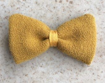 Hair bow - crocodile clip - mustard