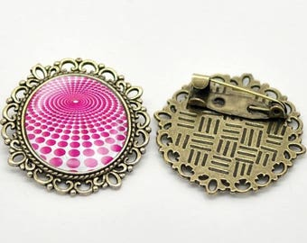 Brooch cabochon pink quirky dots
